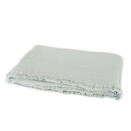 Plaid à franges en coton lavé CELADON