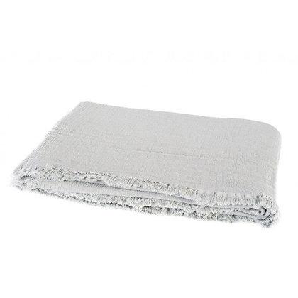 Plaid à franges en coton lavé NATUREL