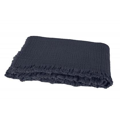 Plaid à franges en coton lavé DENIM | HARMONY TEXTILE