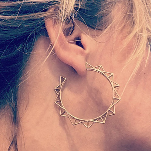 Punk Hoop Earrings - gold-plated, on model