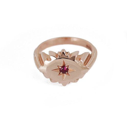 pinky signet ring rose gold ruby star set notting hill jeweler