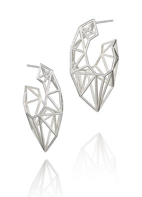 Pointed Hoop Earrings - silver