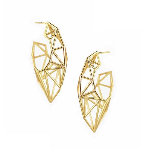 Pointed Hoop Earrings - gold-plated