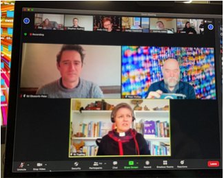 A photo of a zoom workshop on Hybrid Church including Katie Tupling and Ed Olsworth-Peters