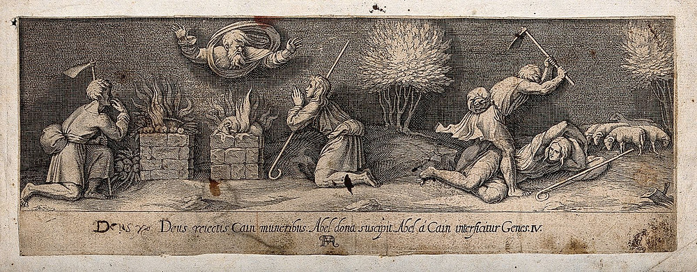 An engraving of the Bible story about Cain and Abel