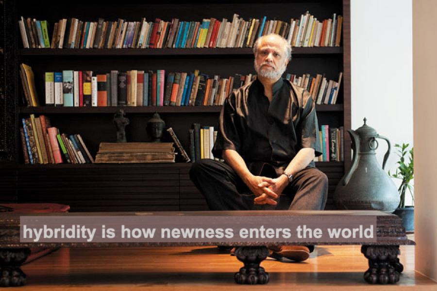 """a photo of Homi Bhabha along with the words """"hybridity is where newness enters the world"""""""