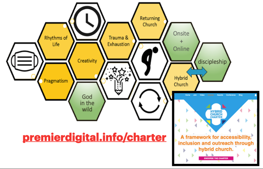 the same diagram of hexagons as before as well as a link to the Hybrid Church Charter at premierdigita.info/charter