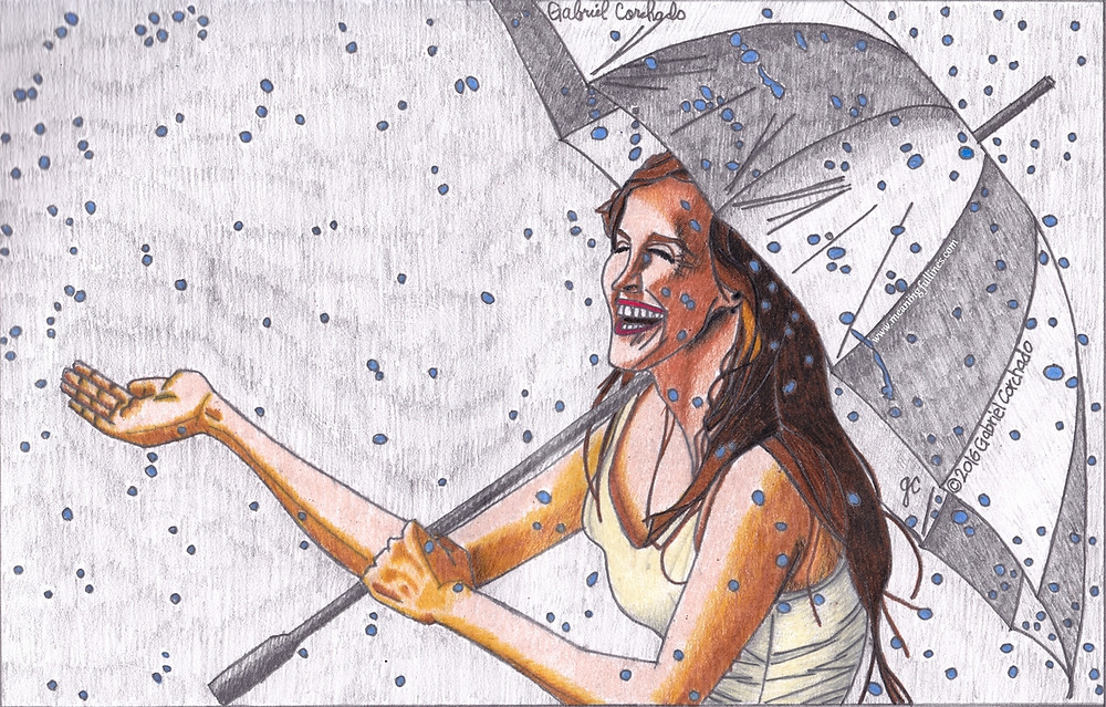 Woman holding an umbrella smiling in the rain.