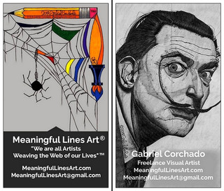 This is the third and latest version of my business cards that I ordered from Vistaprint with the MeaningfulLinesArt.com newly re-created art brand logo of the spider and its web.