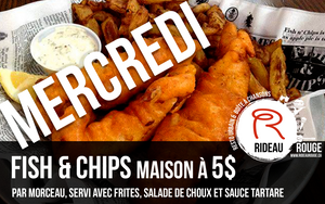 Mercredi Fish and Chips à 5$