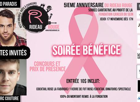 5e anniversaire du Rideau Rouge, Soirée caritative au profit de la Fondation du cancer du Sein