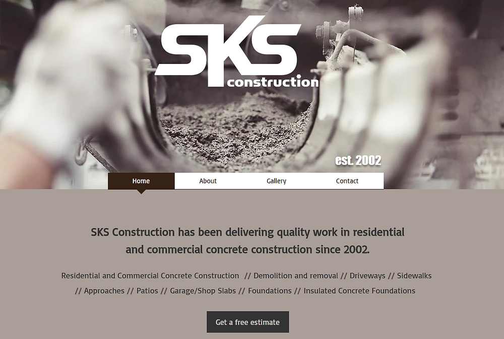 SKS Construction Homepage