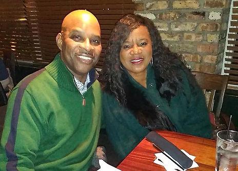 Patrick and wife, Ronda, at restaurant