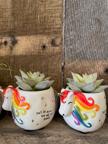 Unicorn mini planter with faux succulent