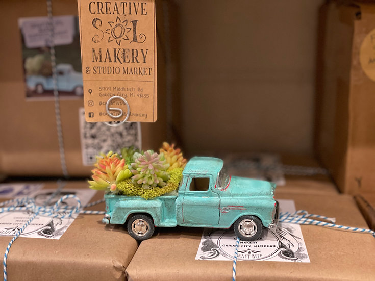 Vintage Truck with faux succulents picture holder