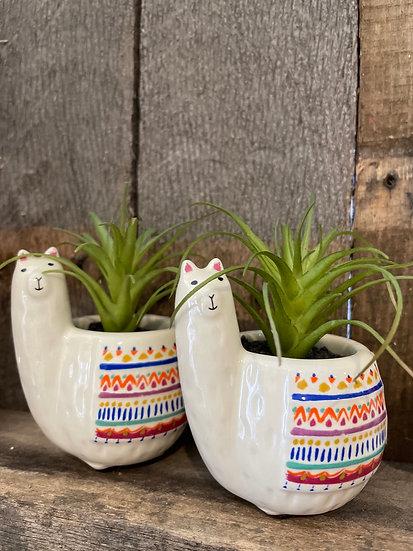 Llama mini planter with faux succulent