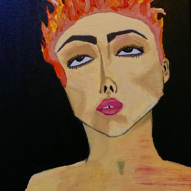 Hot Headed (10 x 15 acyrlic on canvas)