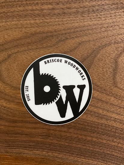 """3"""" round Briscoe Woodworks Stickers"""