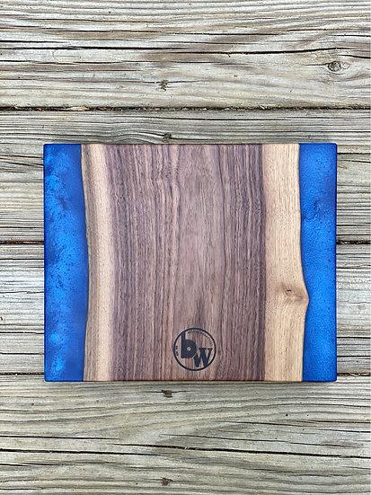 Walnut and ocean blue charcuterie board