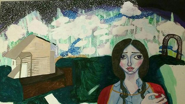 painting of girl in garden