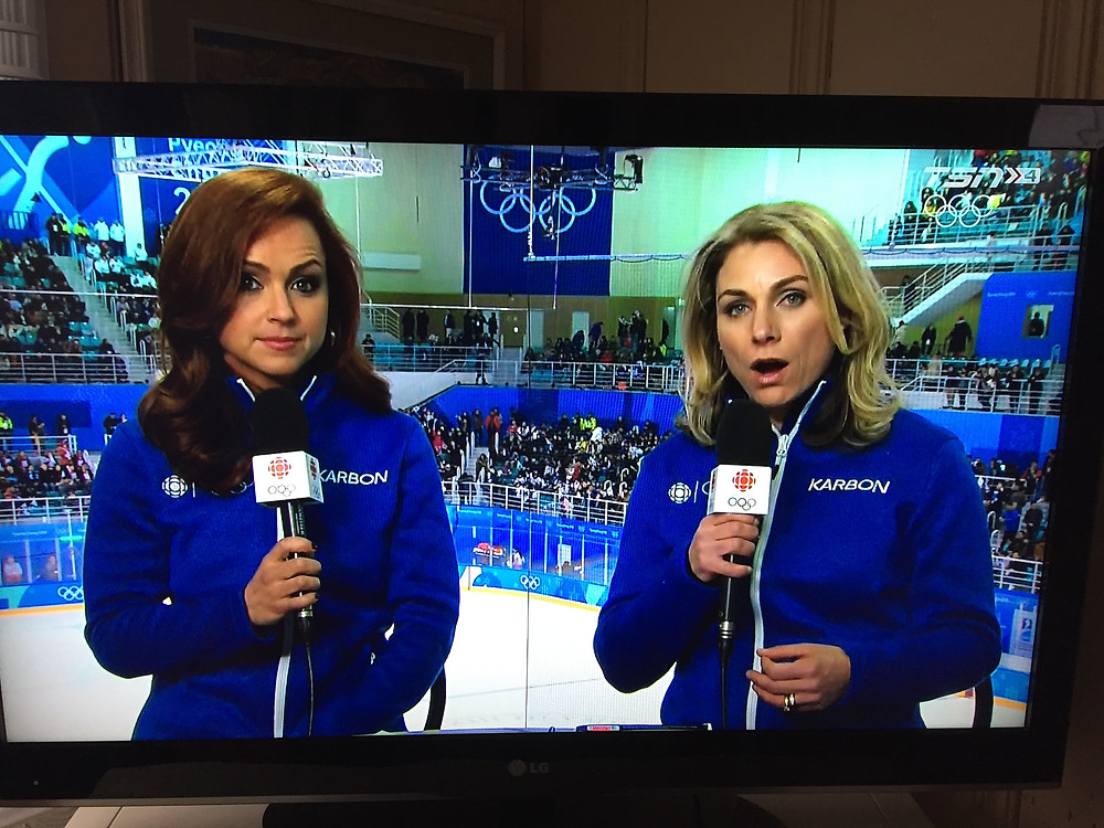 Cheryl Pounder commentating the 2018 Winter Olympics for TSN