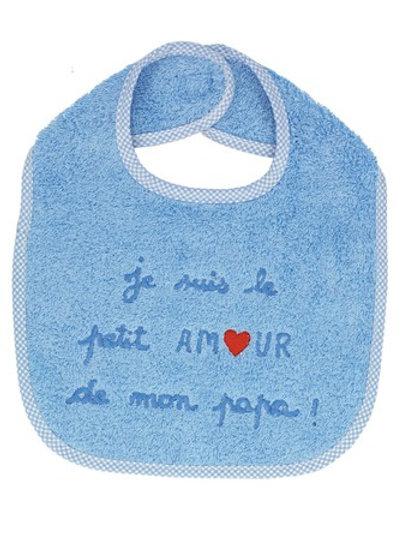 Bavoir bébé message je suis le petit amour de mon papa, cadeau naissance garçon