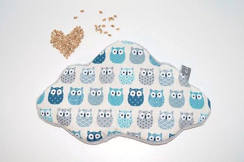 bouillotte séche, nuage pour bébé et enfant, au blé bio, motif hiboux bleu