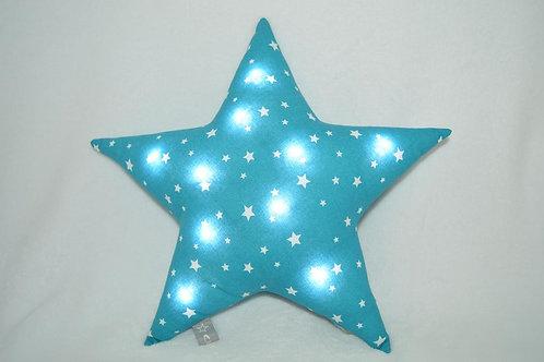 Coussin lumineux étoile bleu, un cadeau de naissance original, Fait main