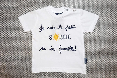 Tee shirt bébé humour, message, 6 mois, Je suis le petit soleil de la famille