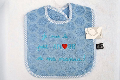Bavoir bébé message je suis le petit amour de ma maman, cadeau naissance garçon