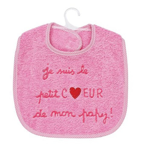 Bavoir bébé fille, message je suis le petit coeur de mon papy, cadeau naissance, cadeau noël