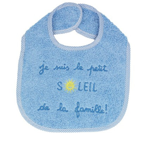 Bavoir bébé garçon, brodé je suis le petit soleil de la famille , bleu