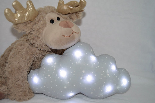Coussin veilleuse nuage lumineux, à leds, gris avec des étoiles blanches
