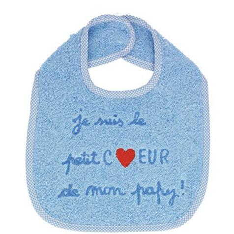 Bavoir bébé garçons, message je suis le petit coeur de mon papy, cadeau anniversaire, cadeau noël original