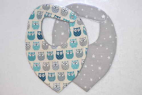 Lot 2 Bavoirs bandana hiboux chouette cadeau bébé moderne naissance