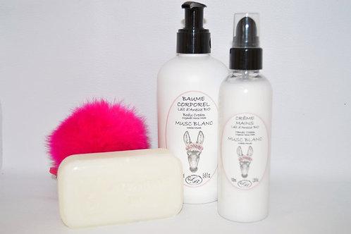Baume corporel, crème mains et savon au Lait d'Anesse BIO, parfum musc blanc, Savonnerie de Bormes