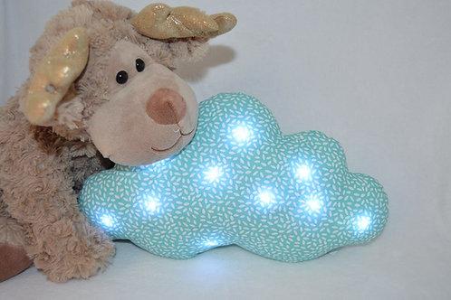 Coussin nuage lumineux, veilleuse bébé original, motifs grain de riz bleu glacier