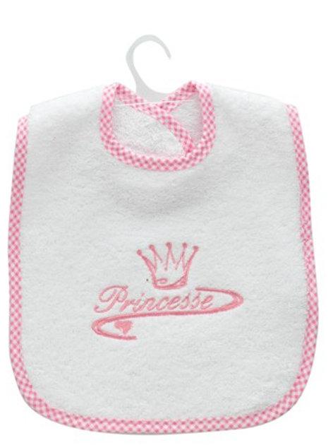 Bavoir bébé fille, princesse, cadeau de naissance original blanc et rose