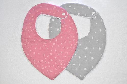Lot 2 bavoirs bandana cadeau de de naissance tissu étoile fait main