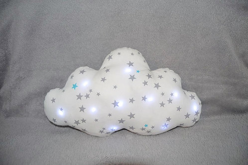 coussin nuage à leds, veilleuse blanche étoiles grises et bleues