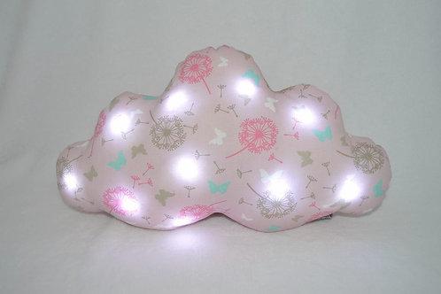 Coussin nuage lumineux, veilleuse bébés et enfants fille, fait main