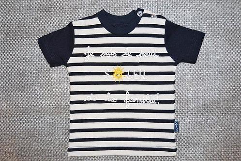 Tee shirt bébé marrin humour, message, 6 mois, Je suis le petit soleil de la famille