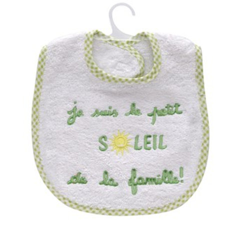 """Bavoir bébé enfant """"Je suis le petit soleil de la famille"""", tissu éponge blanche"""