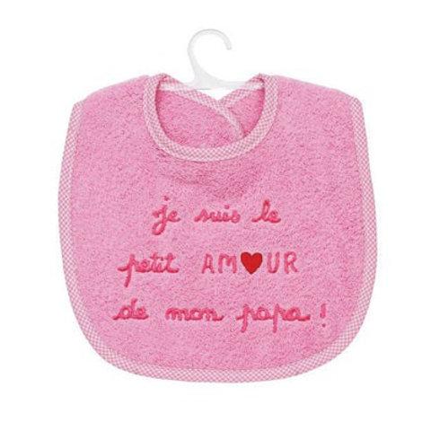 Bavoir bébé fille, message tendresse, je suis le petit amour de mon papa, cadeau naissance
