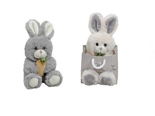 Peluche petit lapin tout doux avec carotte, dans sac cadeau