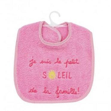Bavoir bébé fille rose message je suis le petit soleil de la famille, éponge