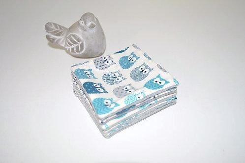 lingettes lavables démaquillantes hiboux chouette bleu