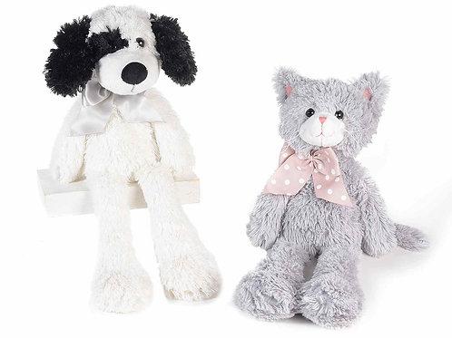 Peluche chien noir et blanc et chat gris