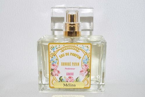 Eau de parfum femme, Mélina, fabriqué  en France à Grasse