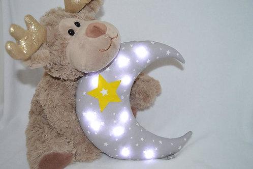 Veilleuse bébé lune, coussin gris étoile jaune
